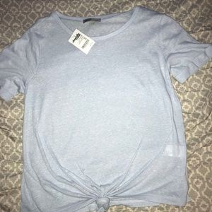 charlotte russe blue shirt with tie at the bottom